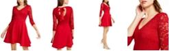 B Darlin Juniors' Lace & Scuba Fit & Flare Dress