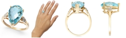 Macy's Blue Topaz (6-1/2 ct. t.w.) & Diamond Accent Ring in 14k Gold