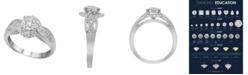 Macy's Carat Swirl Diamond (1/2 ct. t.w.) Halo Engagement Ring in 14K White Gold