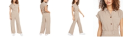 Monteau Petite Button-Front Linen-Blend Wide-Leg Jumpsuit