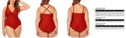 Raisins Curve Trendy Plus Size Juniors' Canaria Mesh-Trim One-Piece Swimsuit