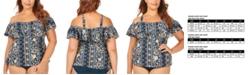 Raisins Curve Trendy Plus Size Juniors' Mallorca Printed Tortuga Flounce Tankini Top