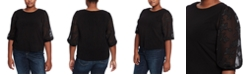 CeCe Plus Size Sheer-Sleeve Top