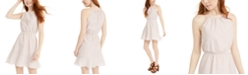 Sequin Hearts Juniors' Textured-Stripe A-Line Dress