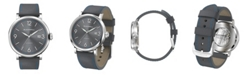 BLACKWELL Sunray Gray Dial with Silver Tone Steel and Gray Leather Watch 44 mm