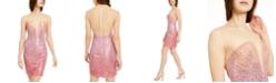 bebe Juniors' Illusion Ombré Sequin Dress