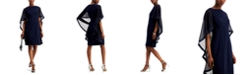 Jessica Howard Crepe Cape Sheath Dress