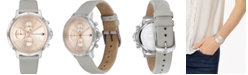 Tommy Hilfiger Women's Chronograph Gray Leather Strap Watch 38mm