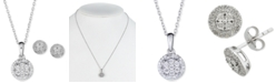 Macy's 2-Pc. Set Diamond Cluster Pendant Necklace & Matching Stud Earrings in Sterling Silver