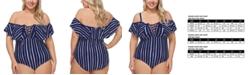 Raisins Curve Trendy Plus Size Shore Thing Off-The-Shoulder One-Piece Swimsuit