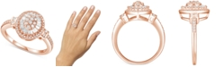 Macy's Diamond Baguette Halo Cluster Ring (1/2 ct. t.w.) in 14k Gold or Rose Gold