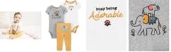Carter's Baby Girls 3-Pc. Elephants Cotton Bodysuits & Pants Set