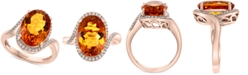 EFFY Collection EFFY® Madera Citrine (6-5/8 ct. t.w.) & Diamond (1/5 ct. t.w.) Ring in 14k Rose Gold