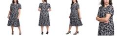 Calvin Klein Plus Size Ditsy Floral-Print Midi Dress