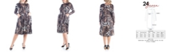 24seven Comfort Apparel Women's Plus Size Fit and Flare Animal Print Midi Dress