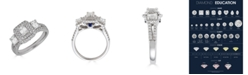 Macy's Diamond 3-Stone Emerald Cut (1 1/3 ct. t.w.) Bridal Ring with Sapphire (1/10 ct. t.w.) in 14K White Gold