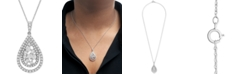 "Macy's Diamond Teardrop Cluster 18"" Pendant Necklace (1 ct. t.w.) in 14k Gold or 14k White Gold"