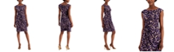 Connected Petite Printed Ruched Sheath Dress