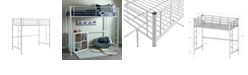 Walker Edison Premium Metal Twin Loft Bed - White