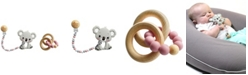 Tiny Teethers Designs 3 Stories Trading Tiny Teethers Infant Silicone And Beech Rattle And Teether Gift Set, Koala