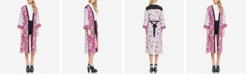 endless rose Mixed Print with Feather Sleeve Kimono