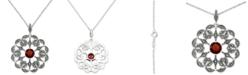 """Macy's Rhodolite Garnet (2 ct. t.w.) & Marcasite Flower 18"""" Pendant Necklace in Sterling Silver"""