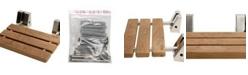 """ALFI brand Brushed Nickel 16"""" Folding Teak Wood Shower Seat Bench"""