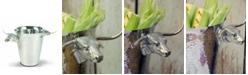 Vagabond House Steel Ice, Wine Bucket with Long Horn Steer Handles
