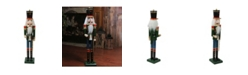 """Northlight 36.75"""" Green and Blue Glittered Wooden Christmas Nutcracker Soldier with Sword"""
