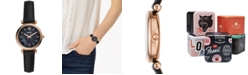 Fossil Women's Carlie Mini Black Leather Strap Watch 28mm