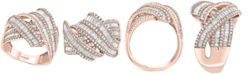 EFFY Collection EFFY® Diamond Crossover Statement Ring (1-1/2 ct. t.w.) in 14k Rose Gold