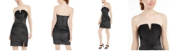 Trixxi Juniors' Strapless Metallic-Stripe Bodycon Dress