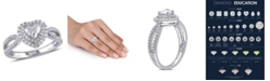 Macy's Certified Diamond (1 ct. t.w.) Double Halo Heart Engagement Ring in 14k White Gold
