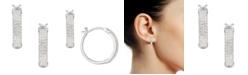 Macy's 1/2 ct. t.w. Round Shape Diamond Hoop Earring in Sterling Silver