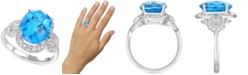 Macy's Blue Topaz (5-1/3 ct. t.w.) & Diamond (1/2 ct. t.w.) Ring in 14k White Gold