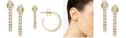 """Macy's Diamond Small Hoop Earrings (1/4 ct. t.w.) in 10k Gold, .71"""""""