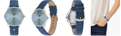 Tommy Hilfiger Women's Blue Leather Strap Watch 36mm