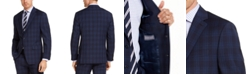 Michael Kors Men's Classic-Fit Airsoft Stretch Navy Blue Plaid Suit Jacket