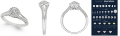 Macy's Diamond Split-Setting Halo Engagement Ring (1/2 ct. t.w.) in 14k White Gold