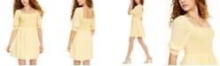 Ultra Flirt Juniors' Smocked Puff-Sleeve Dress