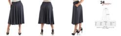 24seven Comfort Apparel Women's Plus Size Polka Dot Midi Skirt
