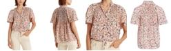 Lauren Ralph Lauren Flutter-Sleeve Floral Top