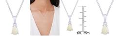 """Macy's Opal Teardrop 18"""" Pendant Necklace (1/4 ct. t.w.) in Sterling Silver"""