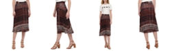 DKNY Printed Pull-On Pleated Midi Skirt