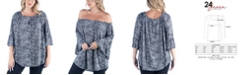 24seven Comfort Apparel Women's Plus Size Elastic Neckline Tunic Top