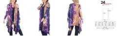 24seven Comfort Apparel Women's Plus Size Knee Length Open Front Tie Dye Cardigan