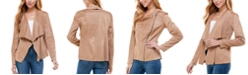 Kingston Grey Juniors' Faux-Suede Asymmetrical Zip-Front Jacket
