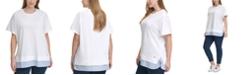 Tommy Hilfiger Plus Size Woven-Hem T-Shirt