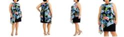 Connected Plus Size Floral-Print Chiffon Popover Dress