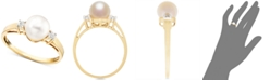 Macy's Cultured Freshwater Pearl (7mm) and Diamond Accent Ring in 14k Gold